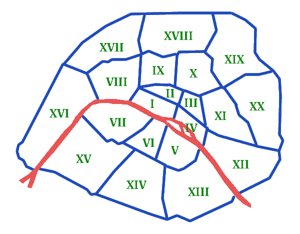 Plan des arrondissements de Paris